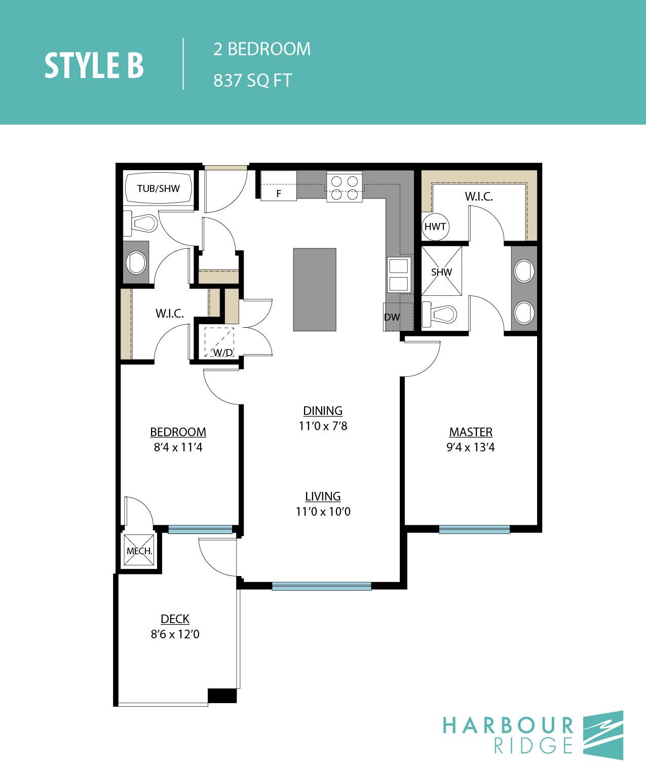 Style B | 2 Bedroom | 837 Sq. Ft.