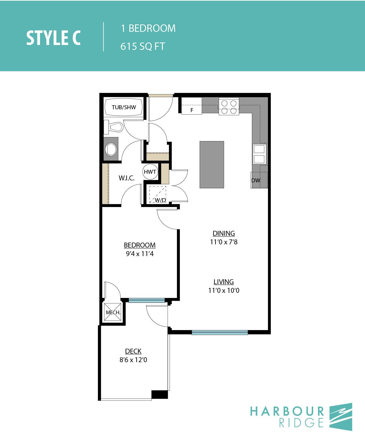 Style C | 1 Bedroom | 615 Sq. Ft.