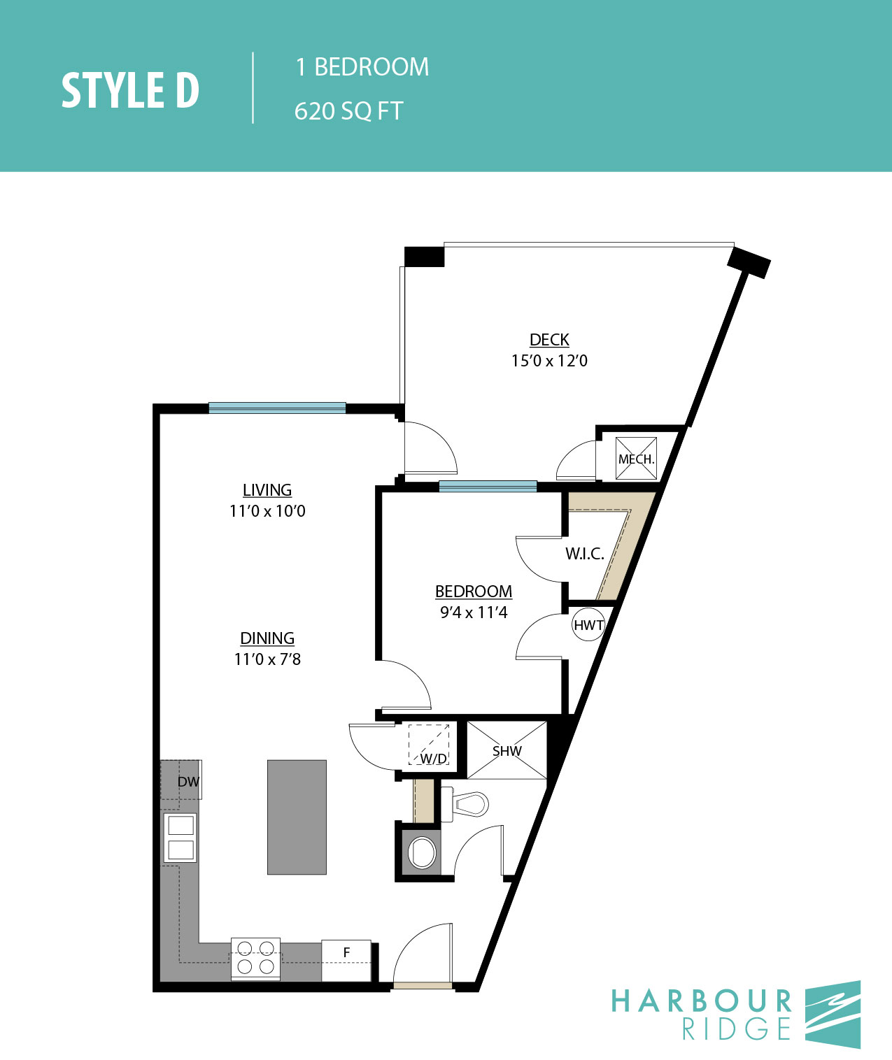Style D | 1 Bedroom | 620 Sq. Ft.